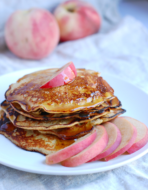 Cinnamon Peach Quinoa Pancakes